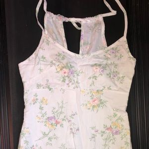 Dresses & Skirts - Short white dress w pastel floral print 90's style